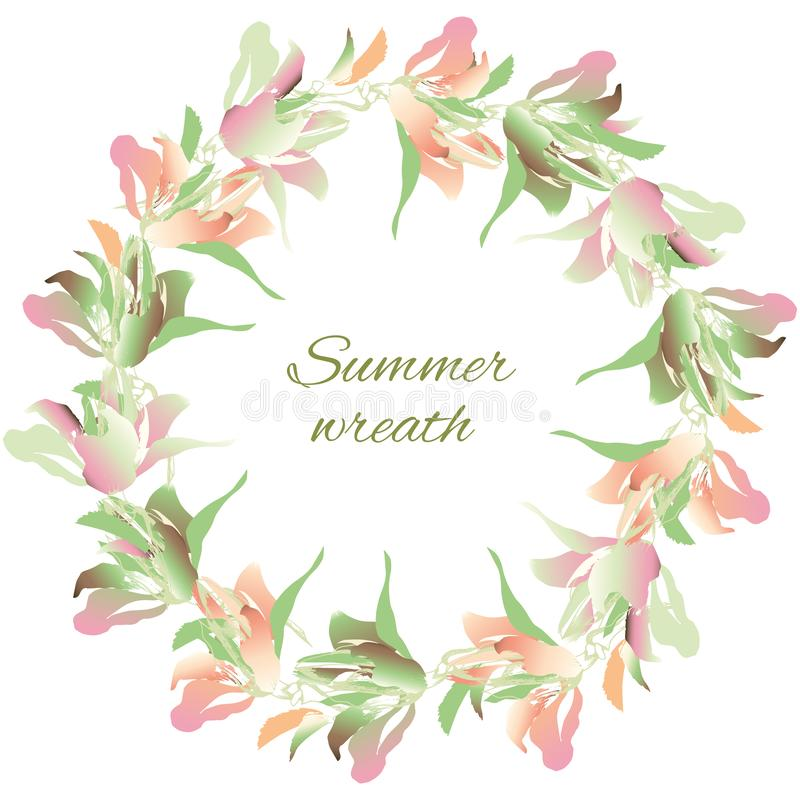 Flower wreath of watercolor flowers. Delicate spring green and pink flowers on a white background. Vector illustration royalty free illustration