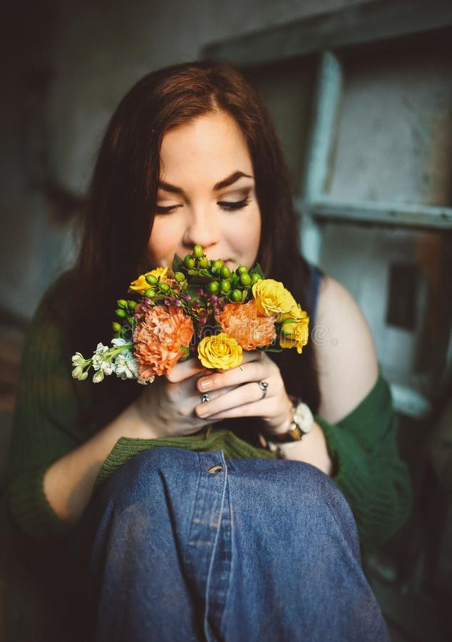 Flower, Yellow, Girl, Beauty royalty free stock images