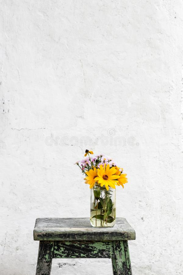 Flower, Yellow, Wall, Flowerpot stock images