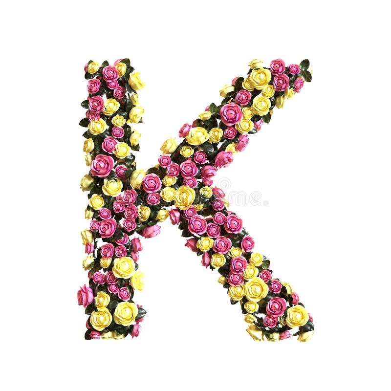 Flowered alphabet floral letter collection. 3d illustration stock photography