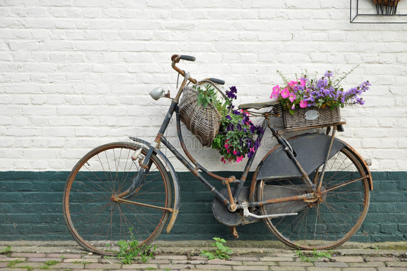 Flowered bike royalty free stock photo