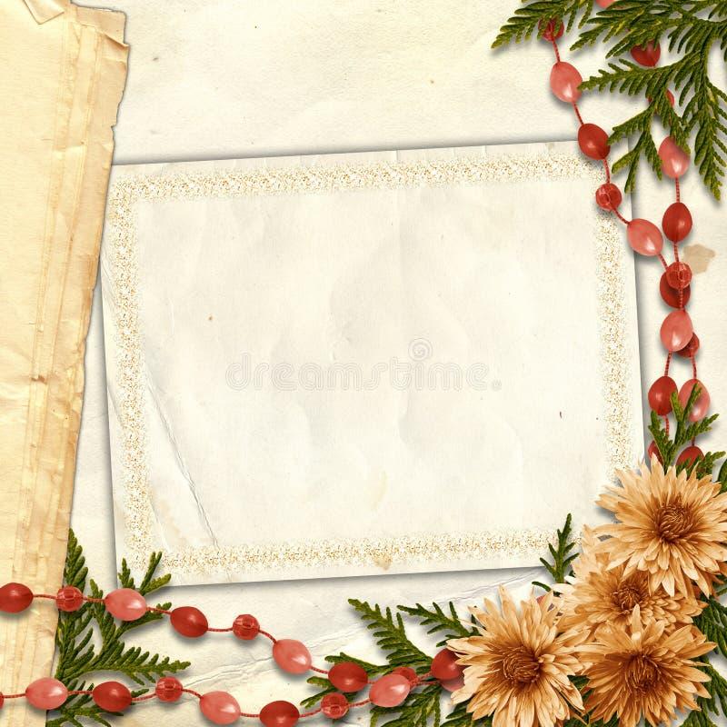 Flowered framework for greeting or invitation royalty free illustration