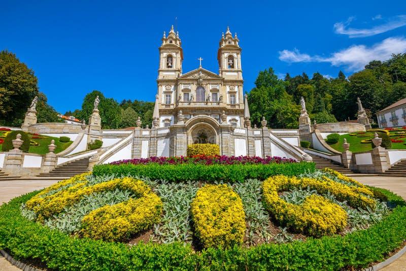 Bom Jesus do Monte. Flowered garden of neoclassical Bom Jesus do Monte Sanctuary. Tenoes near Braga. The Basilica is a popular landmark and pilgrimage site in royalty free stock image