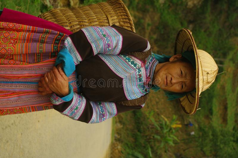 Flowered Hmong woman stock images