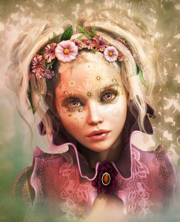 Flowerface, 3d CG. illustration de vecteur