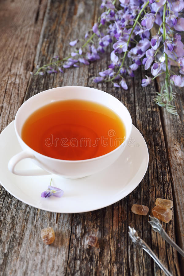 Flowering blue wisteria and cup of tea royalty free stock image