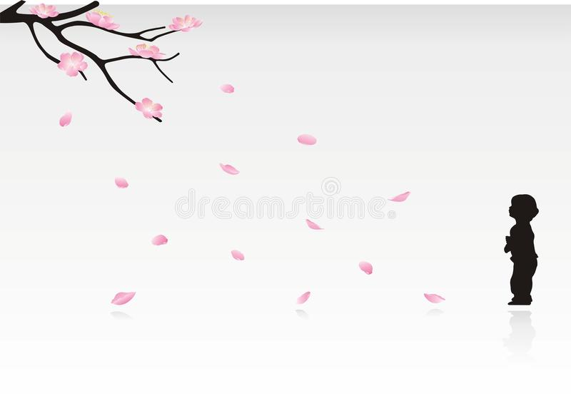 Flowering branch and child. Flowering branch with crumbling petals and baby stock illustration