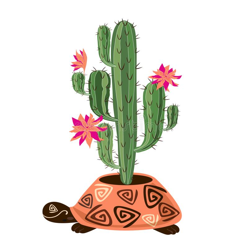 Flowering cactus in pot the form of a turtle. Vector stock illustration