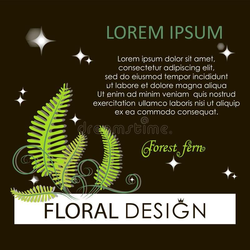 Flowering fern. Forest fern at night. vector illustration