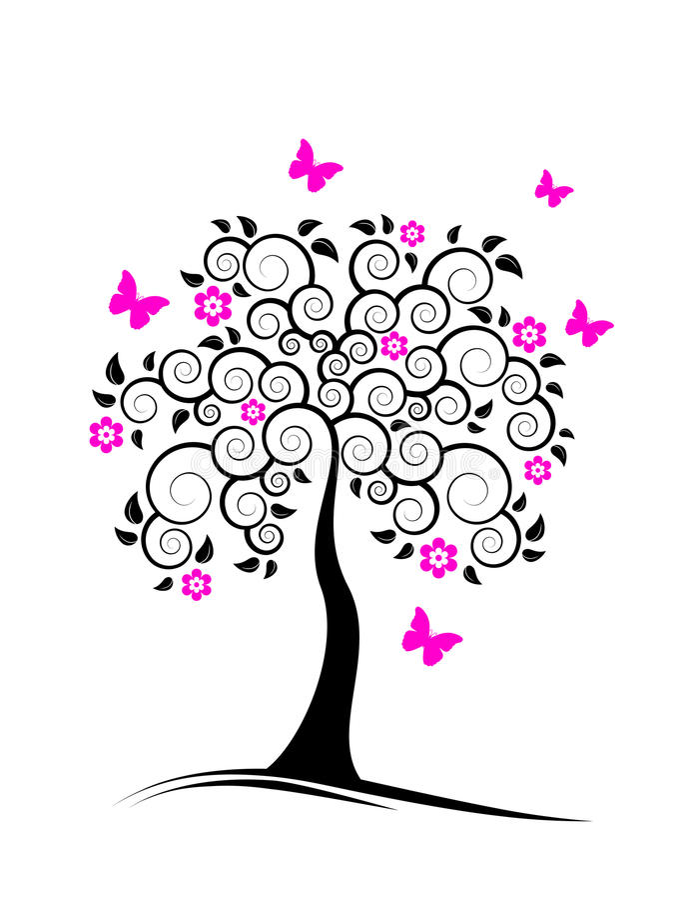 Download Flowering Tree And Butterflies Stock Vector - Image: 14068751