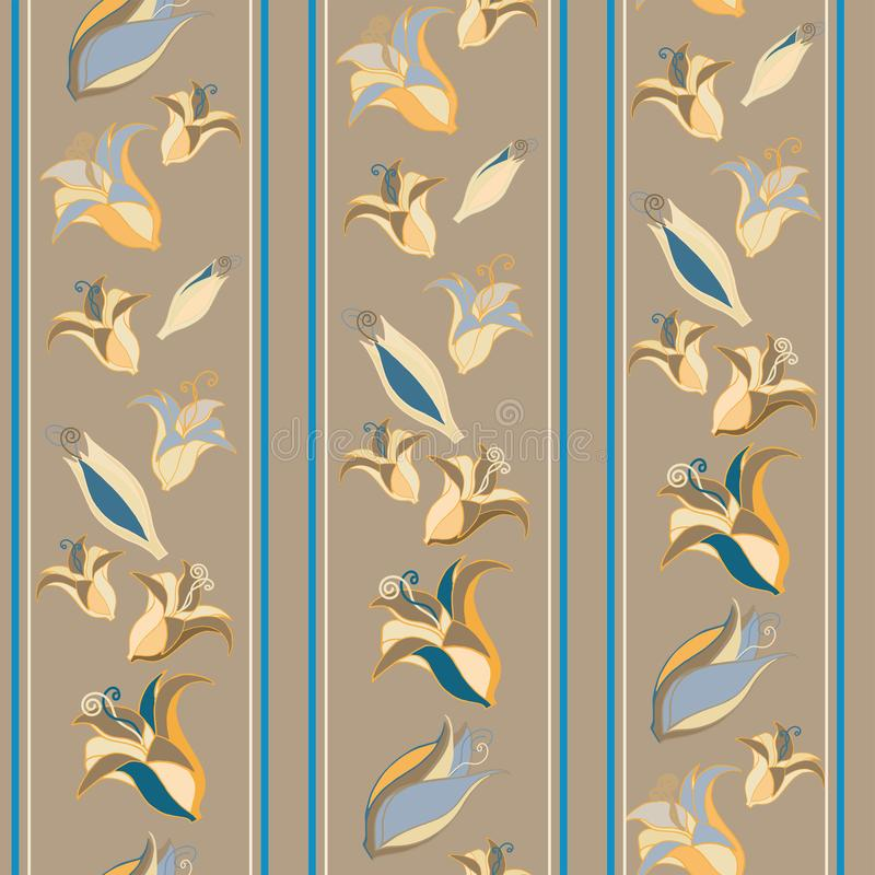 Flowers and stripes on a cafe au lait background royalty free stock photos
