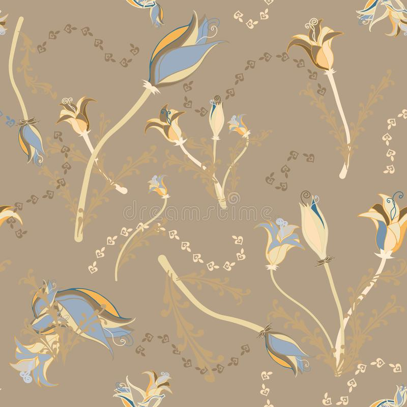 Nice moka background and gold flowers royalty free stock photography