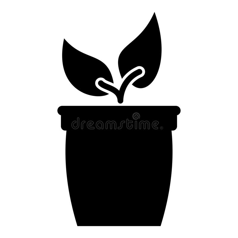 Flowerpot ή δοχείο με εγκαταστάσεων εικονιδίων τη μαύρη απλή εικόνα ύφους έγχρωμης εικονογράφησης επίπεδη απεικόνιση αποθεμάτων