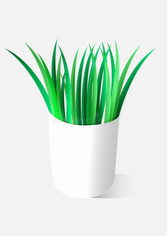 Flowerpot απεικόνισης με τις πράσινες εγκαταστάσεις χλόης ελεύθερη απεικόνιση δικαιώματος