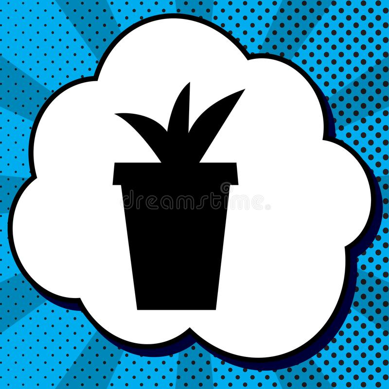 Flowerpot απεικόνιση σημαδιών διάνυσμα Μαύρο εικονίδιο στη φυσαλίδα στο blu απεικόνιση αποθεμάτων