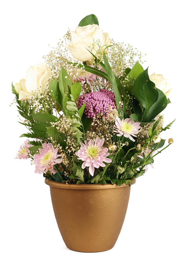 Flowerpot. Brown flowerpot with bouquet of miscellaneous flowers over white background royalty free stock image