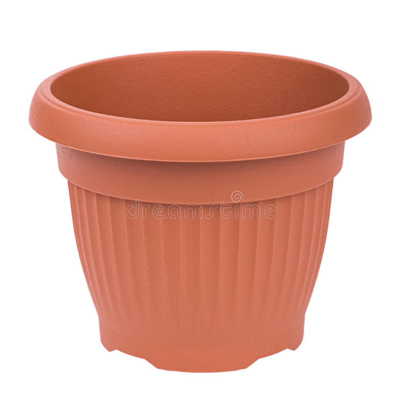 Flowerpot. Brown plastic flowerpot kashpo plant pot royalty free stock images