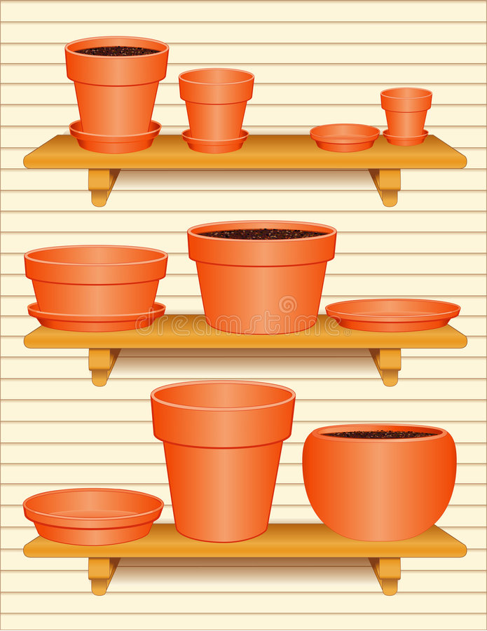 Flowerpot Collection. Standard clay flowerpot, bulb pan, azalea pot, and round clay pots filled with dirt, with small, medium and large saucers to match sitting royalty free illustration