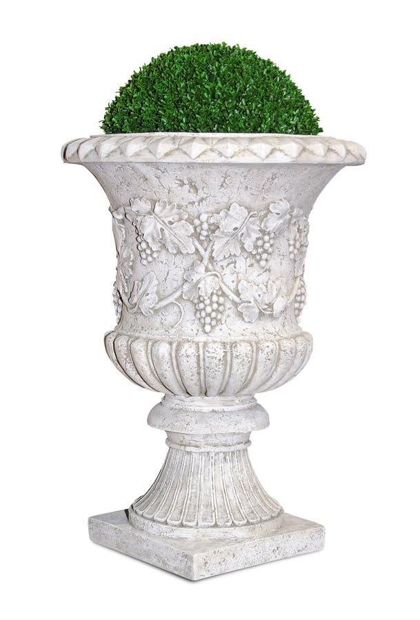 Flowerpot do parque/jardim com planta verde foto de stock