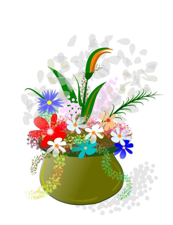 Flowerpot and flowers, stock illustration