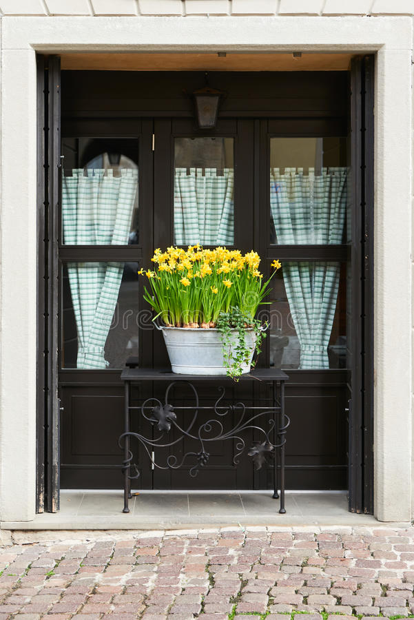 Flowerpot przed okno obrazy royalty free