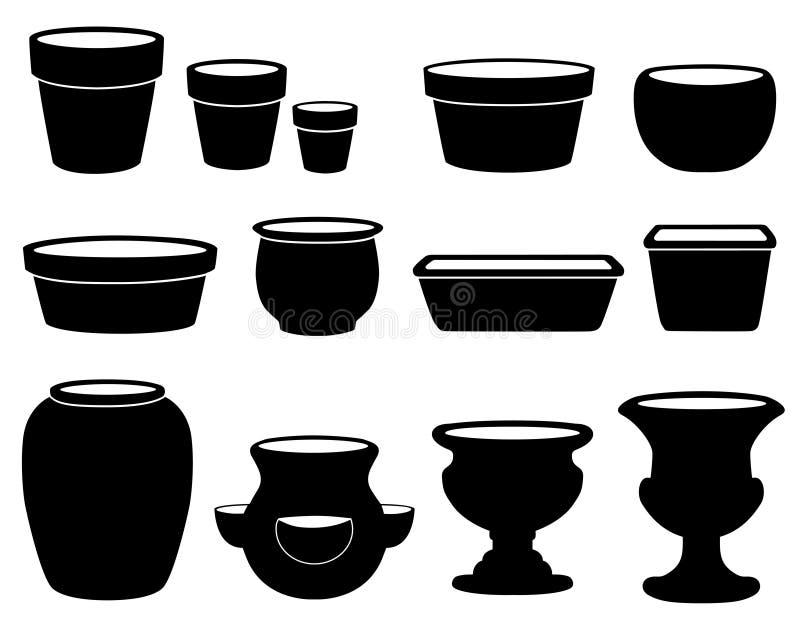Flowerpots et poterie illustration stock