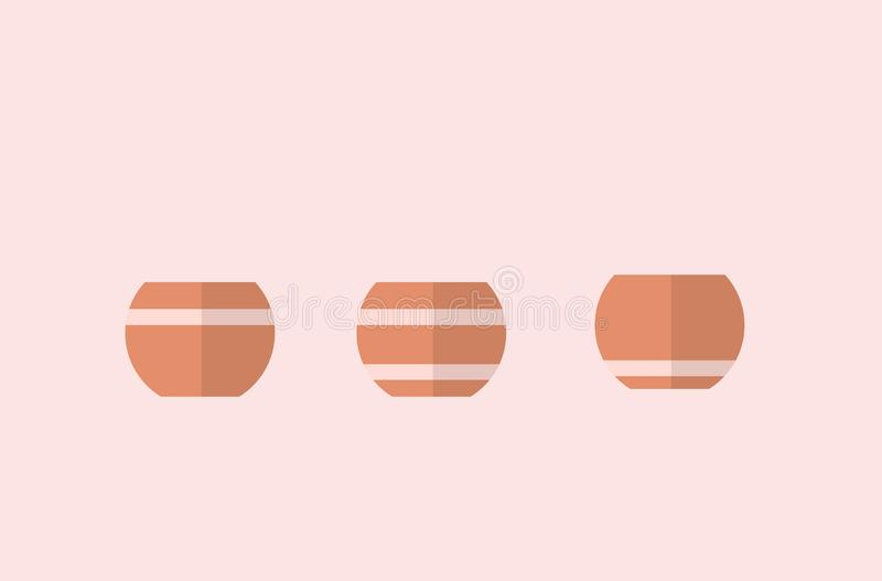 Flowerpots with lines. 3 different vectors, simple designs. Beautiful design vector illustration