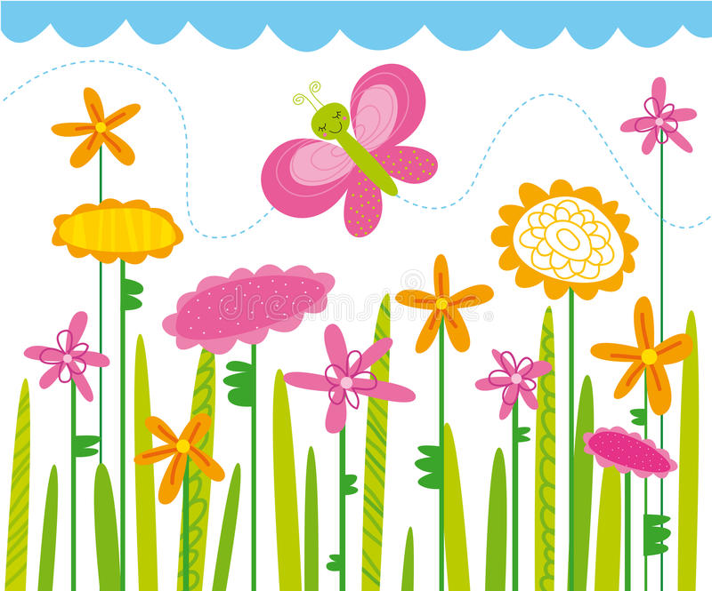 Flowers. Very colorful illustration of the flowery field