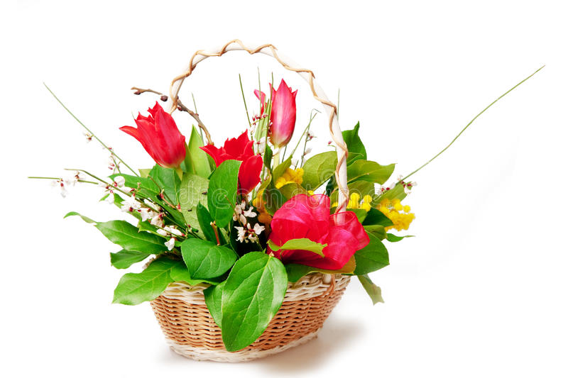 Flowers. Beautiful bouquet of flowers isolated on white stock photos
