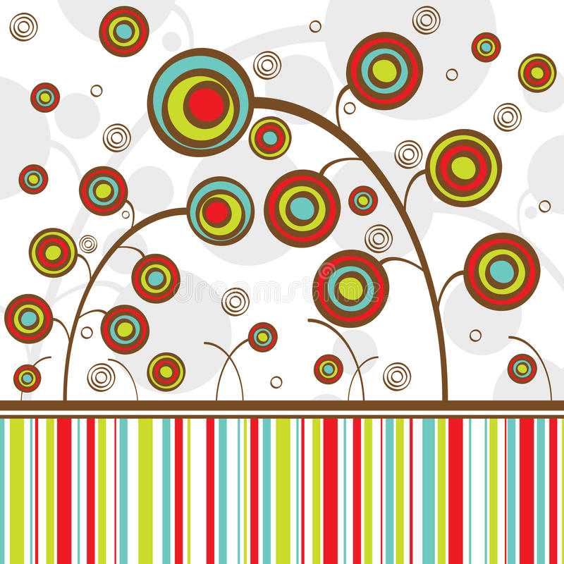 Flowers. Abstract flowers different colors with lines stock illustration