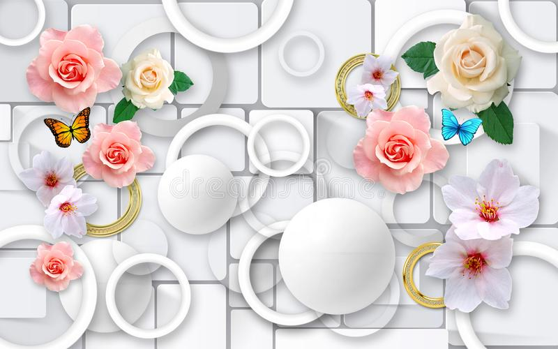 Flowers on an abstract background. 3D Wallpapers for walls. 3D Render. royalty free illustration