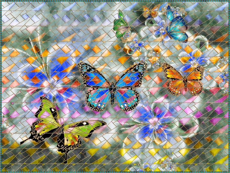 Flowers abstraction. Photo wallpaper for the walls. 3D rendering. royalty free illustration