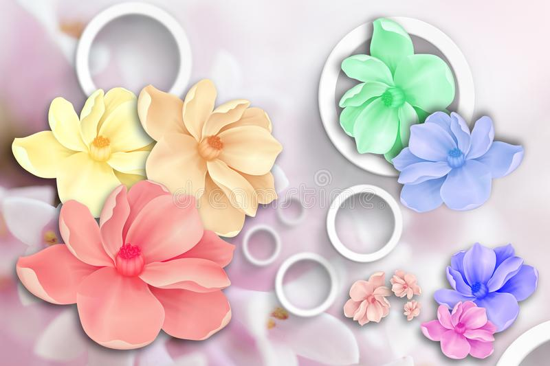 Flowers abstraction. Stereoscopic photo wallpaper for interior. 3D rendering. vector illustration