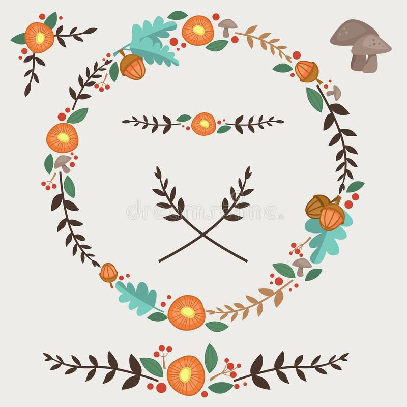Free Flowers Acorn And Leaves Forest Illustrated Wreath Design Elements Set Royalty Free Stock Photos - 110752488