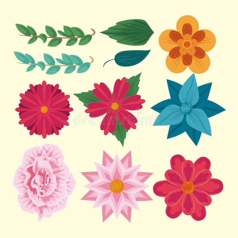 Flowers amd leaves collection. Colorful vector illustration graphic design stock illustration