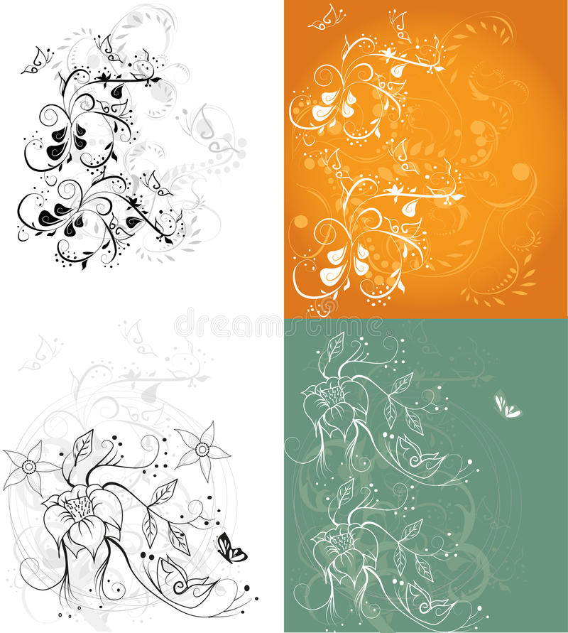 Flowers angle set royalty free illustration