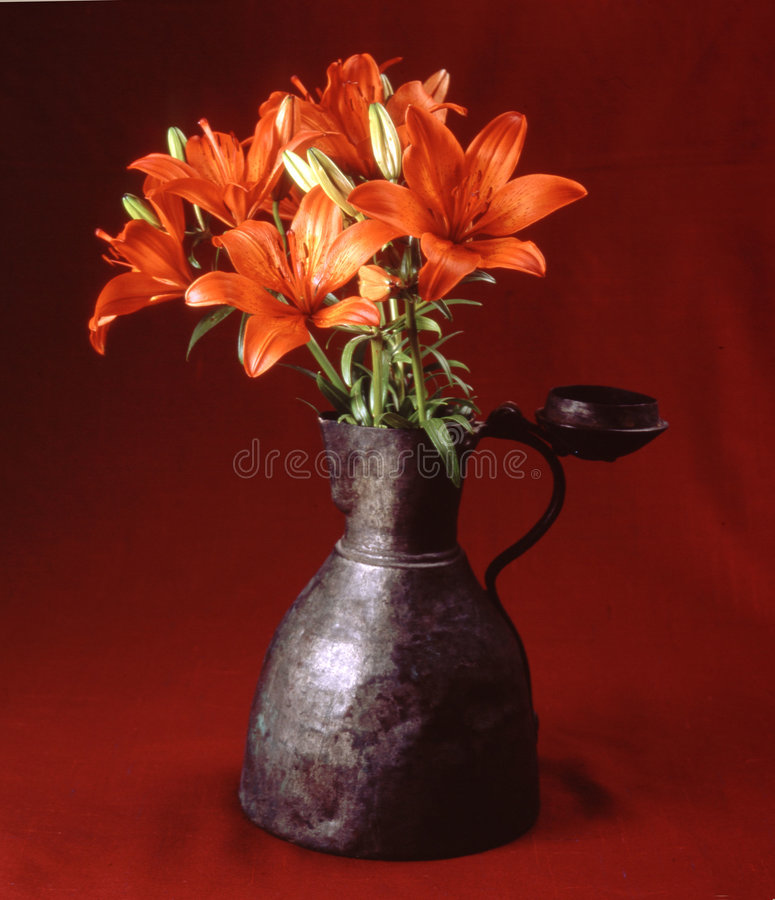 Flowers in antique vase royalty free stock images