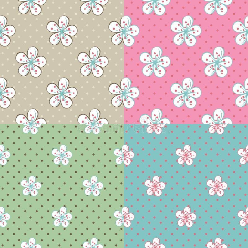 Flowers Apple or cherry,polka dot.Set of seamless vector illustration