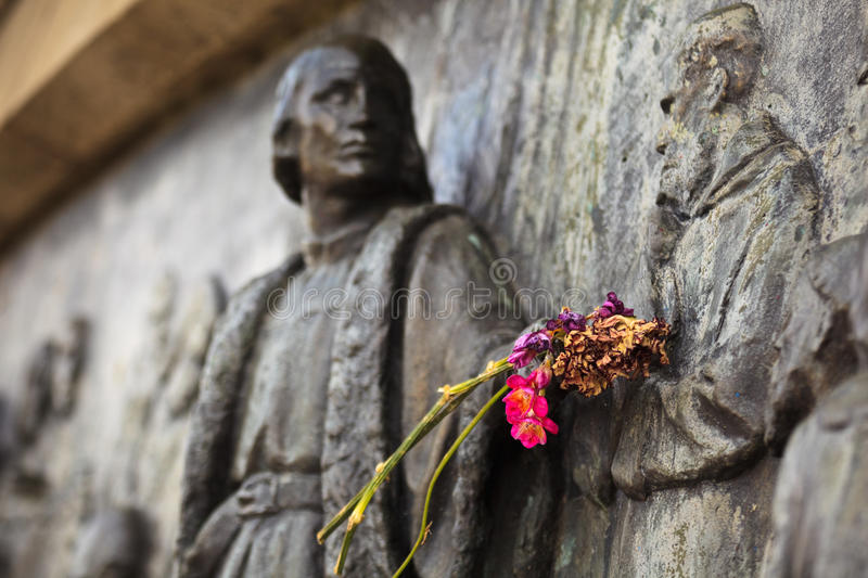 Download Flowers On Arm Of Christopher Columbus Monument Royalty Free Stock Photo - Image: 26564595