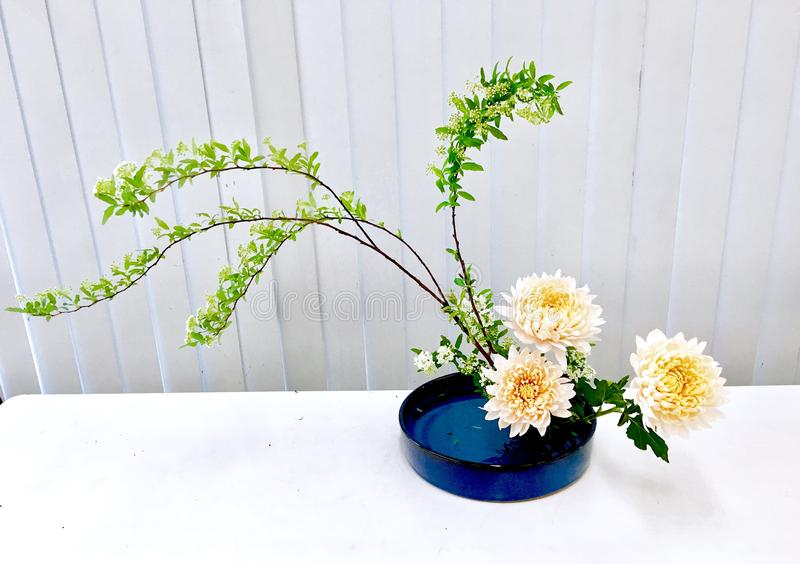 Ikebana art flowers stock image