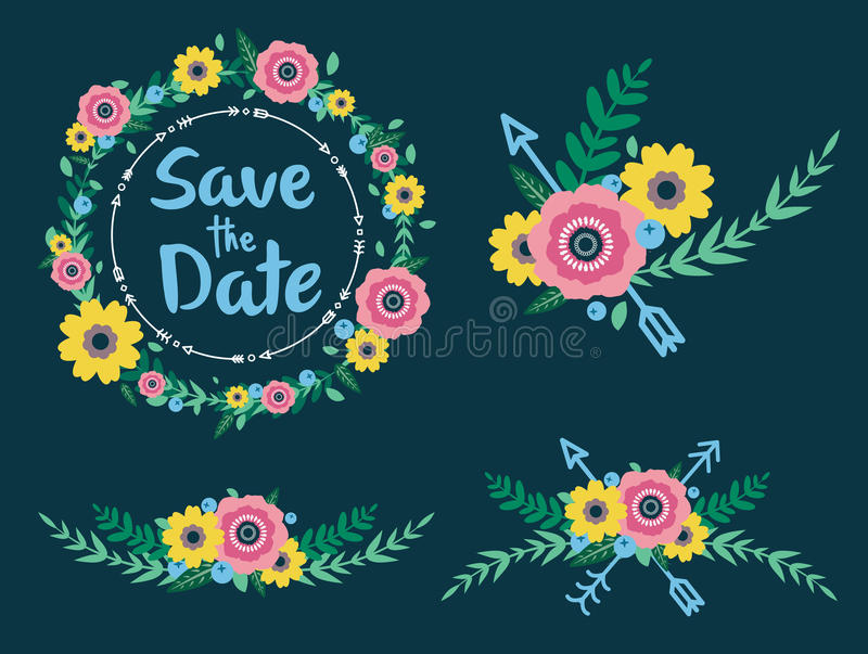 Flowers and arrows save the date stock photos