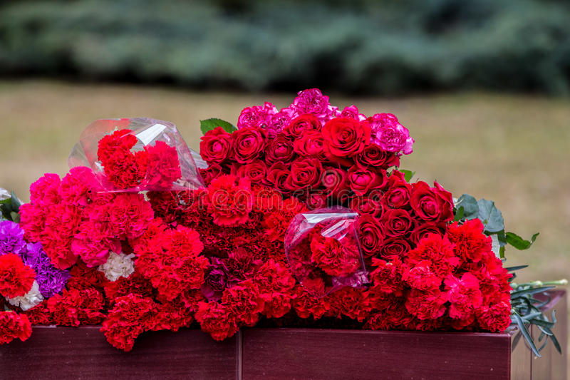 Flowers as a sign of mourning for the dead. 04/04/2017. Moscow. Flowers on the alley of hero cities in the Alexander Garden. Mourning for those killed in the St stock photography