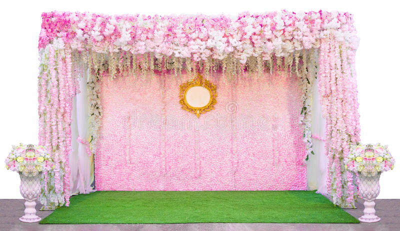 Flowers Backdrop In The Wedding Ceremony Isolated On White ...