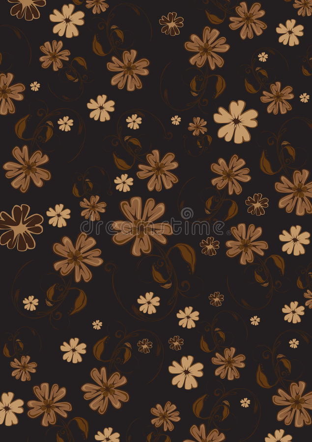 Flowers background. Vector illustration of funky flowers abstract pattern on brown background stock illustration