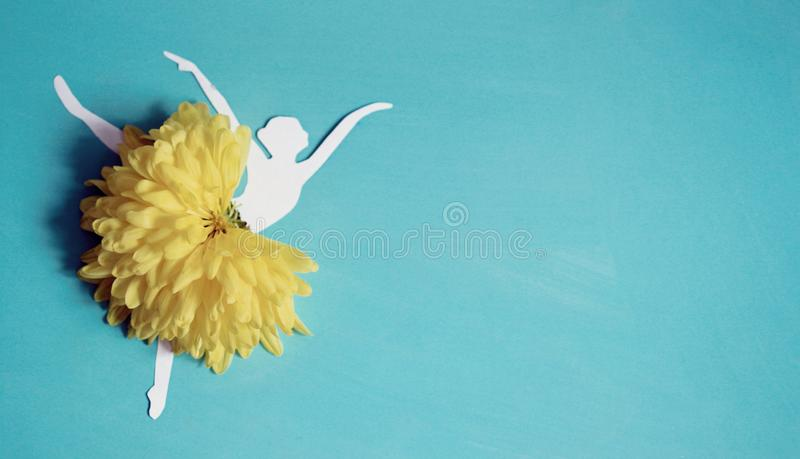 Flowers background with ballet dancer ballerina royalty free stock photos