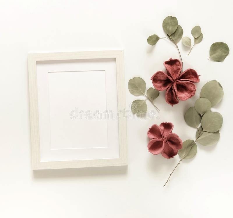 Flowers background composition. Photo frame mock up, dried flowers stock photos