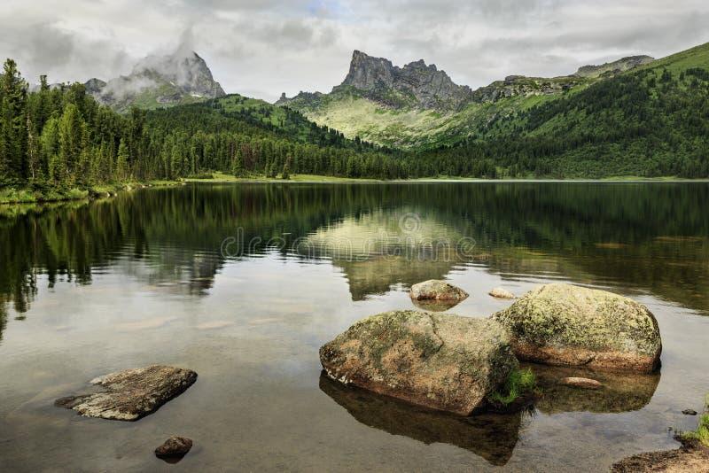 The lake is bright, ergaki, Siberia stock photography