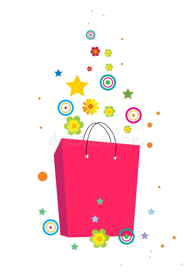 Flowers and bag stock illustration