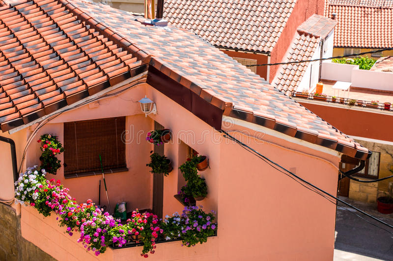 Flowers in a balcony royalty free stock image