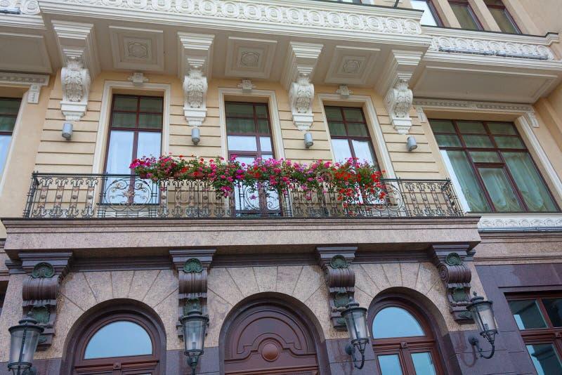 Flowers on a balcony in Kiev stock image